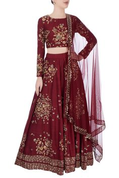 Shop Astha Narang Burgundy lehenga with floral motif embroidery , Exclusive Indian Designer Latest Collections Available at Aza Fashions Pakistani Wedding Dresses, Indian Dresses, Indian Outfits, Indian Clothes, Bridal Collection, Dress Collection, Designer Collection, Burgundy Outfit, Lehnga Dress