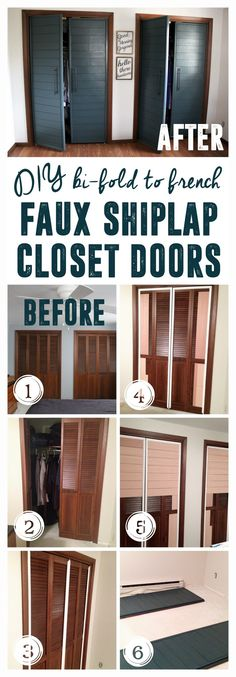 I can't believe these are the same closet doors with a facelift! These faux shiplap closet doors make for the perfect modern closet door! Modern Closet Doors, French Closet Doors, Diy Closet Doors, Closet Bedroom, French Doors, Master Bedroom, Folding Closet Doors, Front Closet, Hallway Closet