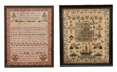 A George IV or William IV needlework sampler, the work of Jane Cormick, Age 11 years, 1830; and a George IV needlework sampler, 'Done in the Right Honourable Lady Grantham's School, by Elizabeth Parker in the thirteenth Year of her Age. July 1828'