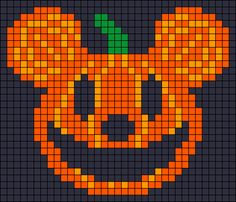 Mickey Mouse pumpkin - Halloween perler bead pattern as halloween quilt inspiration. Perler Bead Designs, Diy Perler Beads, Perler Bead Art, Pearler Beads, Beaded Cross Stitch, Cross Stitch Charts, Cross Stitch Embroidery, Cross Stitch Patterns, Pearler Bead Patterns