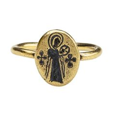 Byzantine Niello Ring of Virgin and Child, 10th century, Constantinople, Byzantium, gold and niello