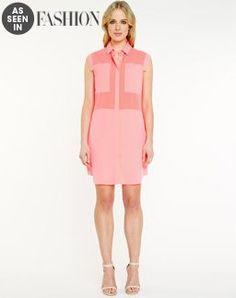 As Seen In Fashion. Le Château: Crêpe De Chine Illusion Shirt Dress, $99.95.