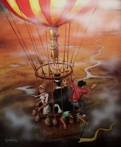 Out Of The Clouds by Tom Shropshire ~ acrylic painting ~ hot air balloon Canvas Prints, Framed Prints, Art Prints, Love Rain, Pulp Fiction, Hot Air Balloon, Steampunk, Balloons, Toms