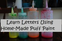 bottl, puffy paint, paint recipes, paints, learning, letters, homemad puff, puff paint, kid