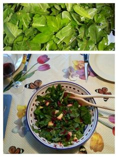 ZEVENBLAD-PAARDENBLOEMSALADE Ingrediënten salade: - jong, glanzend zevenblad - jong, glanzend paardenbloemblad - geraspte rauwe biet - stukjes appel - pijnboompitten.  Ingrediënten dressing: - olijfolie - appelciderwijn - peper - zout.