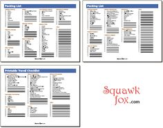 Click here to go directly to the PDF,  http://www.squawkfox.com/wp-content/uploads/2009/06/printable_travel_checklist_packing_list.pdf  (Blank packing list)