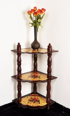 Vintage Style Space Saving 3-Tier Wooden Storage Shelf Organizer Corner Table 37 x 18 x 18 Inches House Gift by HouseOfHandicraft on Etsy