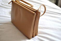celine beige leather handbag