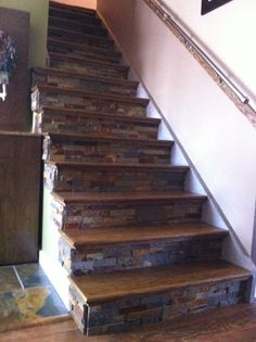 Ripped Off The Carpet, Added Oak Treads Stained The Color Of The Floor And  Then Slate Underneath. We Also Added A Cement Overlay On The Stair Risers  And ...