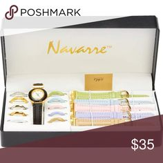 Ladies' Watch with Interchangeable Bands and Faces 66 watches in ONE! You will never need another fashion watch to match any outfit. Set includes: 6 bands and 11 interchangeable faces. Limited 1 year warranty. Gift boxed. Navarre Accessories Watches