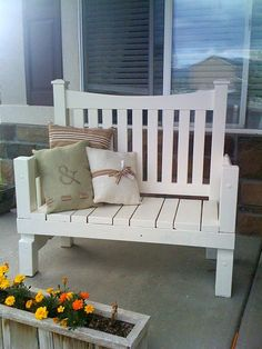 Sadly, I've been wanting to make this for a while now. Super cool! Bench from headboard.