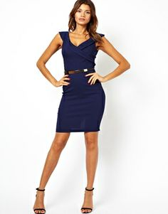 Image 4 ofPaper Dolls Belted Pencil Dress with Open Neck