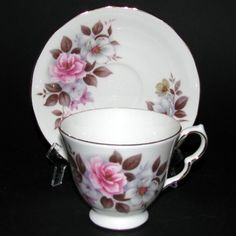 Queen Anne Floral Teacup and Saucer