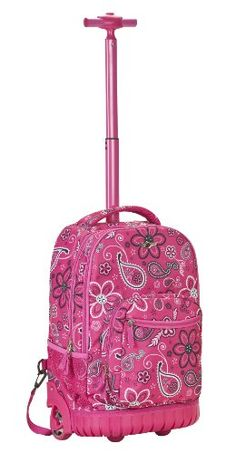 6cdb5084b537 Girls Rolling Backpack Rockland Sedan Bandana School Bookbag Carry On Travel  Bag