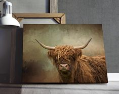 This Highland Cow Canvas Print adds a beautiful touch to your Home or Office. Printed and delivered to your door. #art #wallart #homedecor #decor #gifts Highland Cow Canvas, Highland Cow Print, Wall Art Prints, Canvas Prints, Canvas Art For Sale, Etsy App, Printable Wall Art, Fine Art America, Moose Art