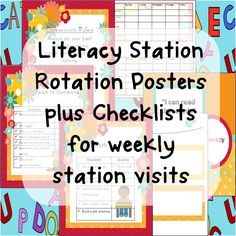 Literacy Station Rotation Posters plus checklists for weekly station visits $