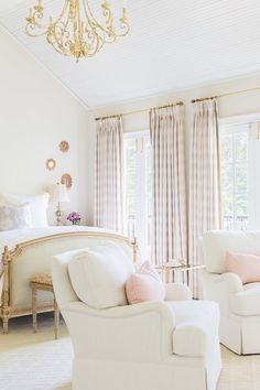 Beyond Beautiful Soft Chic French Country Bedroom via Alyssa Rosenheck Photography