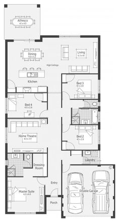 Eden Display Home - Advantage Floor Plan Bungalow Floor Plans, Bungalow House Design, House Floor Plans, Narrow Lot House Plans, New House Plans, Dream House Plans, Luxury Floor Plans, Home Design Floor Plans, Australian House Plans
