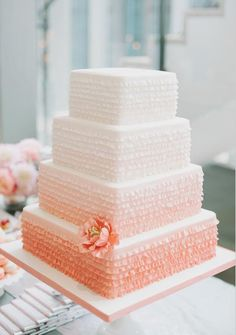 peach ombre wedding cake by
