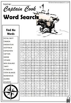 Learn about Captain Cook, his travels and unfortunate demise. Have fun with this free printable word search available for use at home or in school. Explorers Unit, Free Printable Word Searches, Curriculum, Homeschool, Captain James Cook, Search And Find, Teaching Social Studies, Reading Activities, Royal Navy