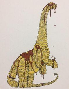 """Pancakeosaurus, 3 color screenprint, 8.5"""" x 11"""" : Art"""
