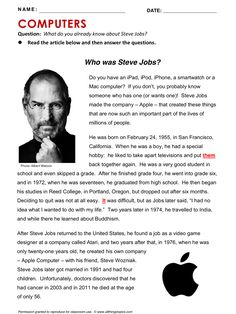 Steve Jobs, Computers and Internet, English, Learning English, Vocabulary, ESL, English Phrases, http://www.allthingstopics.com/computers-and-internet.html