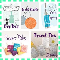 Scentsy has a wide range of ways to get that good smelling scent everywhere! Car Bars, Scent Circles, Room Spray, Scent Paks and Travel Tins! Car Bar, Winter 2017, Scentsy, Natural Oils, Tins, Flyers, Circles, Catalog, Place Card Holders