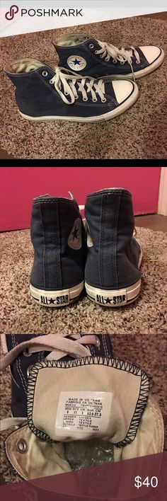 CHUCK TAYLORS CONVERSE MENS SIZE 9.  DENIM BLUE! CHUCK TAYLORS CONVERSE MENS SIZE 9.  WOMENS SIZE 11.  DENIM BLUE.  From a smoke free home. Please let me know if you have any questions AND OFFERS ARE MORE THAN WELCOME in MY CLOSET!! :).   🌟PRICE IS VERY FIRM🌟. Converse Shoes Sneakers