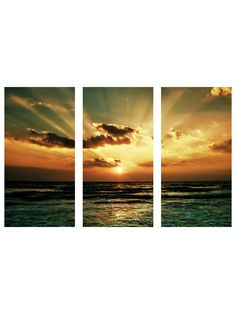 Art Addiction  Ocean Sunrise (3 pc)  funny i took a 3 pc pic that looks exactly like this!!  Port A <3