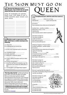 (song) The Show Must Go On - Queen worksheet - Free ESL printable worksheets made by teachers