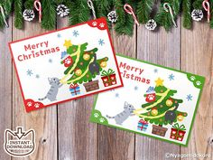 "Printable Cat Christmas Message Cards, Set of 8 Christmas Message Cards, Holiday Message Cards, 2.5""x3.5"" card, Cat Holly Message Cards"