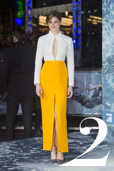 What: Emilia Wickstead Where: Insurgent Berlin Premiere Why: The thigh-high slit and keyhole top add a youthful touch to this covered-up look.   - HarpersBAZAAR.com