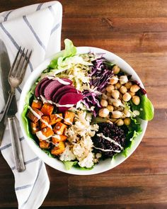Roasted Nourish Bowl with Lemon Tahini Dressing #healthy #tahini #salad