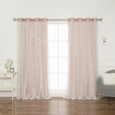 Harriet Bee Efird Tulle Overlay Star Cut Out Blackout Thermal Grommet Curtain Panel