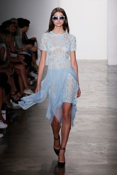 A model walks the runway during Timo Weiland women's spring 2015 at Milk Studios on September 9, 2014 in New York City.  (Photo by Joe Kohen/Getty Images)