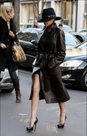 how to wear a leather trench coat...wrap it over a dress and top it off with a fedora.  need more warmth for the brr months? Try adding leggings, tights or skinny jeans.