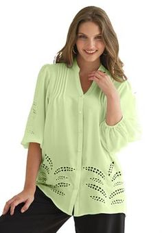 Plus Size Tunic top, with cutwork and pintucks image