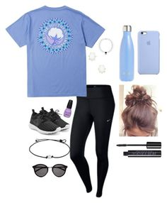 """""""Messy Bun Kinda Day """" by katelynb28 on Polyvore featuring NIKE, Yves Saint Laurent, Kendra Scott, S'well and Urban Decay"""