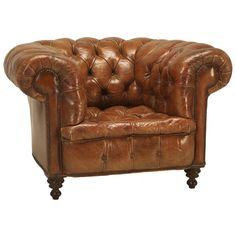Antique Chesterfield Chair In Original Leather | See More Antique And  Modern Armchairs At Https: