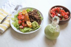 Happy Cinco de Mayo, friends! I have the PERFECT recipe for you today – a Whole30 and paleo TACO SALAD! Mexican is my all time favorite cuisine of food… I could literally eat it for breakfast, lunch, and dinner. (Ok, I do…) This taco salad is definitely a go-to in our home! It is super filling, delicious, and Whole30 approved. I have a standard cilantro lime vinaigrette that I use for taco salads normally, but I'm always up for something new! The Paleo and Whole30 approved Green Goddess…