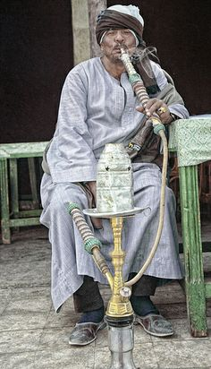 LUXOR, EGYPT SISHA is a water pipe commonly smoked in arabic and north african countries.