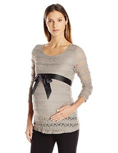 Three Seasons Maternity Womens 34 Sleeve Belted Lace Top Taupe XLarge * Be sure to check out this awesome product.Note:It is affiliate link to Amazon.