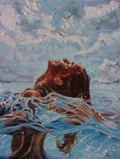 Painting by Monika Luniak (Germany) Arte Indie, Figurative Kunst, Water Art, Painting Of Girl, Art And Illustration, Aesthetic Art, Portrait Art, Love Art, Female Art