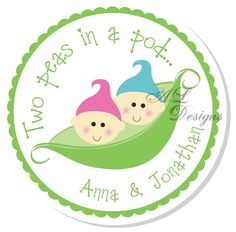 Two Peas in a Pod baby shower stickers