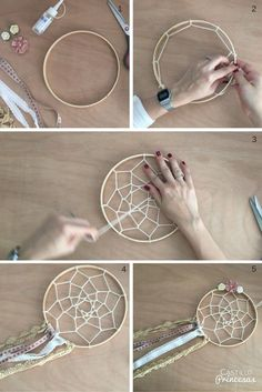 hacer un atrapasueños Aprende a hacer un atrapasueños perfecto para decorar boda o para regalar.Aprende a hacer un atrapasueños perfecto para decorar boda o para regalar. Home Crafts, Diy And Crafts, Arts And Crafts, Diy Dream Catcher Tutorial, Dream Catcher Craft, Making Dream Catchers, Homemade Dream Catchers, Dream Catcher Boho, Craft Projects