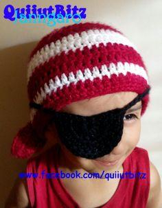 Gorro pirata con parche para niño,tejido en crochet. www.facebook.com/quiiutbitz