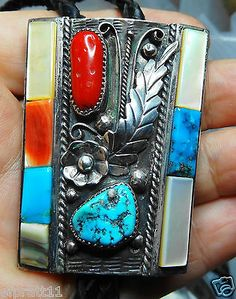 Old-Pawn-Navajo-Sterling-Silver-Inlaid-Spiny-Oyyster-MOP-Coral-Turq-Bolo-56g