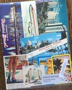 Lets Travel to Miami Florida Vintage Collage by diamondcloudstudio