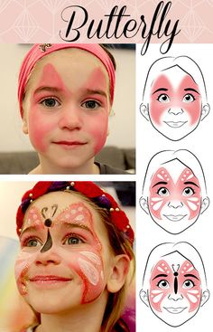 Carnival Makeup Faces Leopard and Butterfly - Haushaltsmuffel.de - Make-up Butterfly Makeup, Butterfly Face Paint, Cute Butterfly, Kids Makeup, Eye Makeup, Makeup Ideas, Fairy Makeup, Prom Makeup, Makeup Art