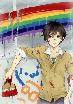 This picture is awesome. (1) because rainbows. (2) there is cute anime guy. But mostly the rainbows x)